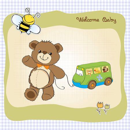 battesimo: carta di bambino doccia con cute teddy bear e autobus giocattolo Vettoriali