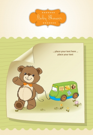 pull along: baby shower card with cute teddy bear and bus toy Illustration