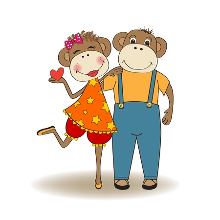 monkeys couple in love, Valentine's day card Stock Vector - 17671617