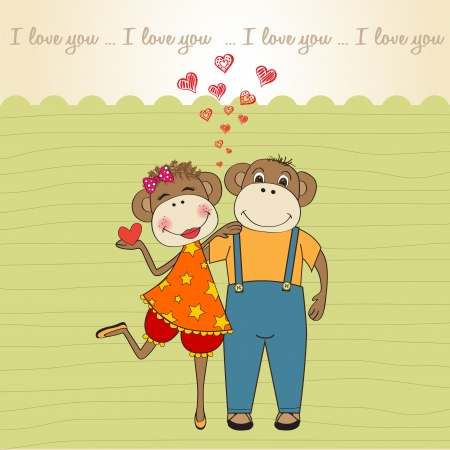 monkeys couple in love, Valentine's day card Stock Vector - 17671587