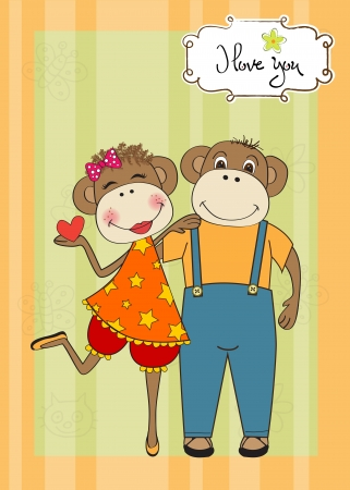 monkeys couple in love, Valentines day card Vector