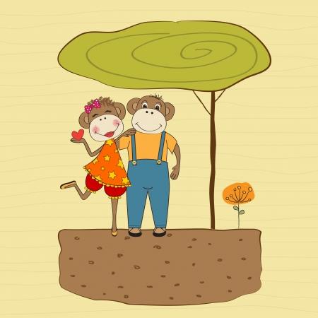 monkeys couple in love, Valentine's day card Stock Vector - 17671547