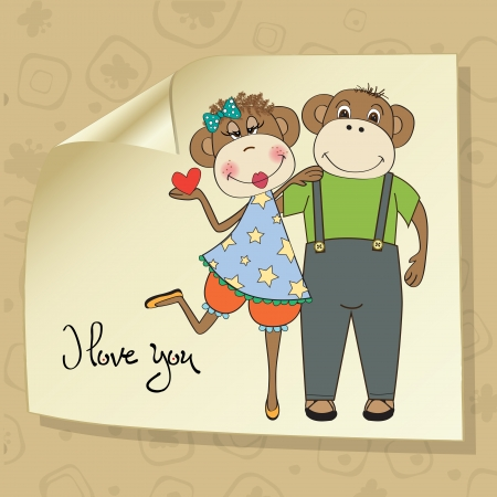monkeys couple in love, Valentine's day card Vector