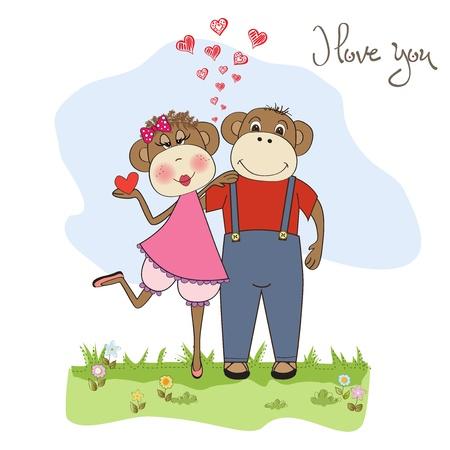 monkeys couple in love, Valentine's day card Stock Vector - 17671584