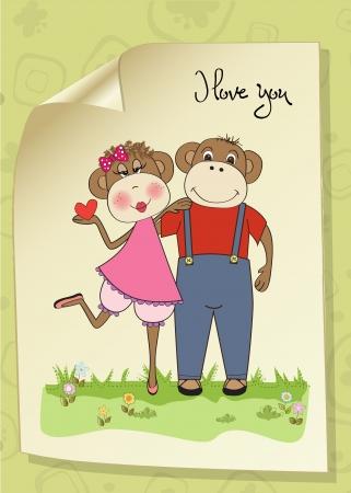hot lips: monos pareja en el amor, tarjeta del d�a de San Valent�n