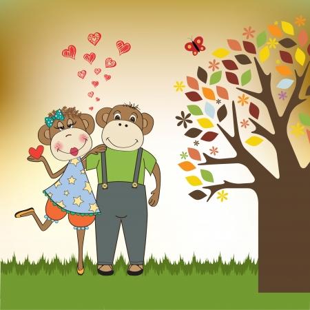 monkeys couple in love, Valentine's day card Stock Vector - 17671583