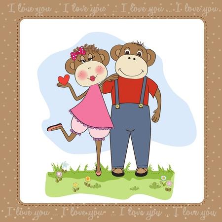 monkeys couple in love, Valentine's day card Stock Vector - 17671585