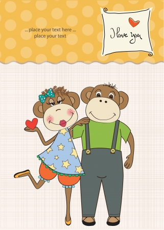 monkeys couple in love, Valentine's day card Stock Vector - 17671644