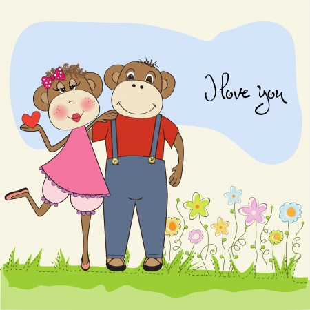 hot lips: monos pareja en el amor, tarjeta de San Valent�n Vectores