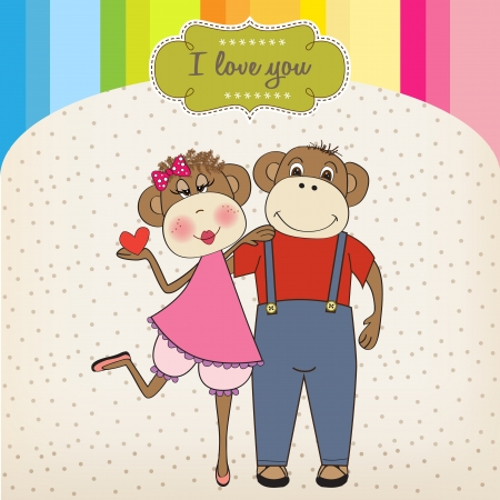 hot lips: monkeys couple in love, Valentines day card Illustration