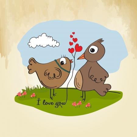 love birds, romantic illustration Stock Vector - 17671806