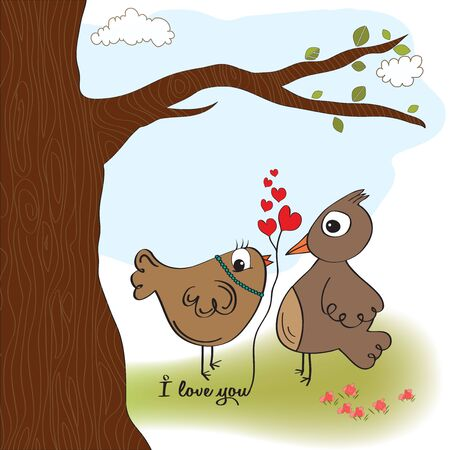 love birds, romantic illustration Stock Vector - 17671804