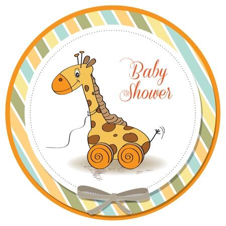 Bebé lindo con tarjeta ducha jirafa de juguete
