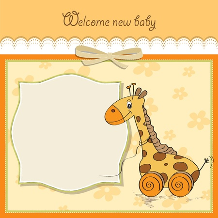 Baby shower card with cute giraffe toy Vector