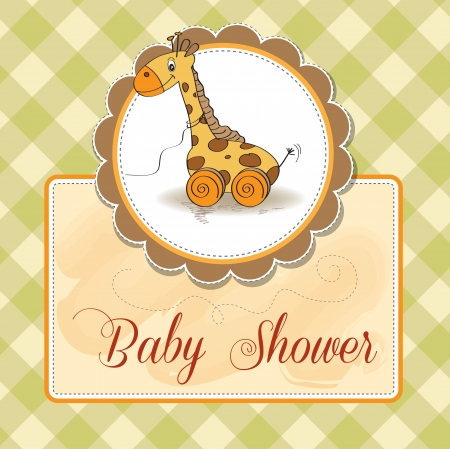 Baby shower card with cute giraffe toy Stock Vector - 17671777