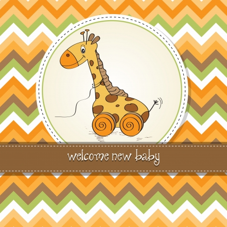 pull along: Baby shower card with cute giraffe toy