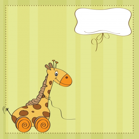 invite congratulate: Baby shower card with cute giraffe toy