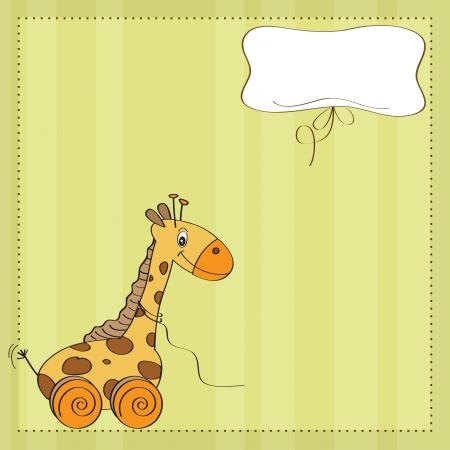 jirafa cute: Beb� lindo con tarjeta ducha jirafa de juguete Vectores