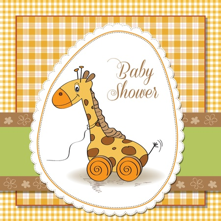 Baby shower card with cute giraffe toy Stock Vector - 17671837