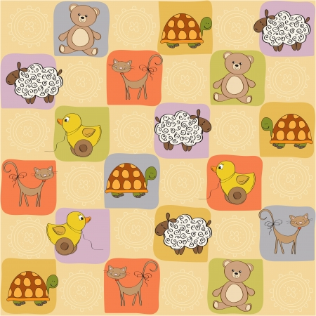 whimsical pattern: childish seamless pattern with toys