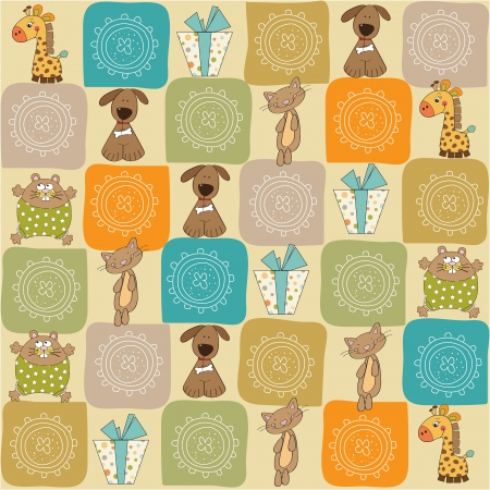 dog gift: childish seamless pattern with toys