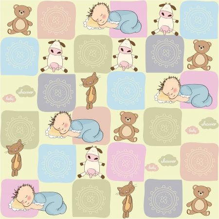 cat toy: childish seamless pattern with toys