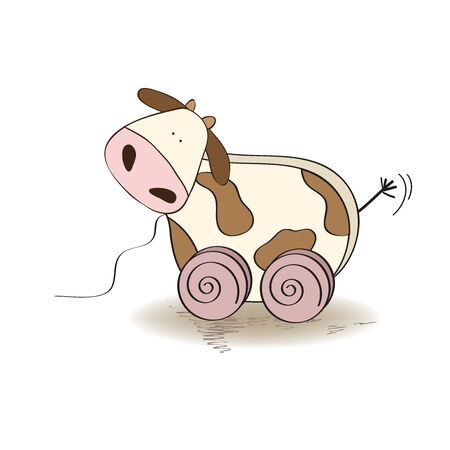 pull along: wooden cow toy, vector illustration Illustration