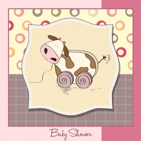 Baby shower card with cute cow toy, vector illustration Stock Vector - 17922147