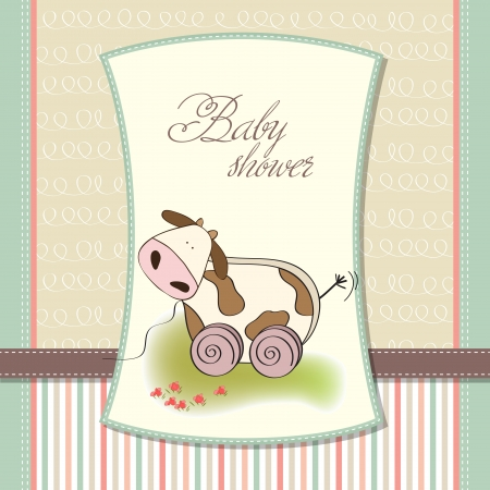Baby shower card with cute cow toy, vector illustration Stock Vector - 17922150