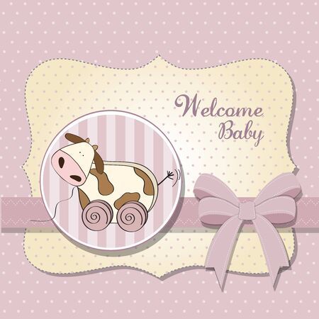 Baby shower card with cute cow toy, vector illustration Stock Vector - 17922151