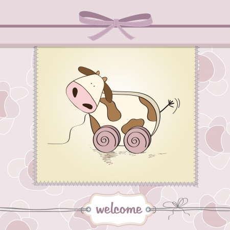 Baby shower card with cute cow toy, vector illustration Stock Vector - 17922149