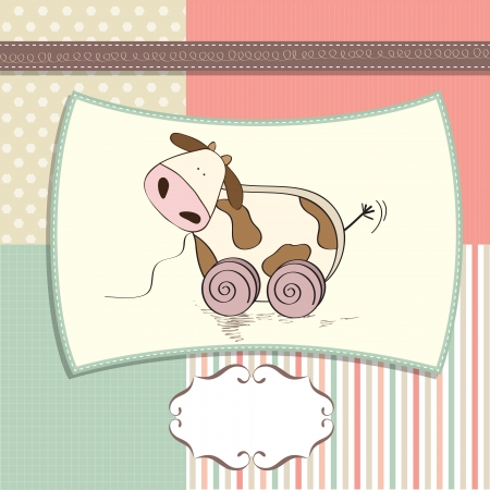 pull along: childish card with cute cow toy, vector illustration