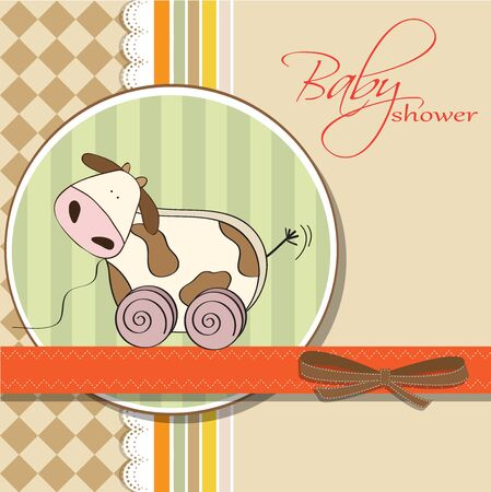 Baby shower card with cute cow toy, vector illustration Stock Vector - 17922145