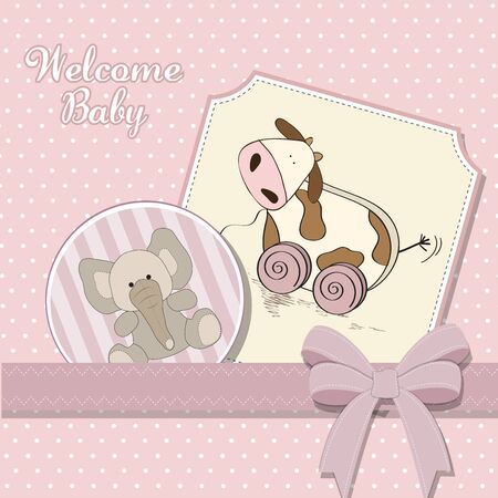 Baby shower card with cute cow toy, vector illustration Stock Vector - 17922152