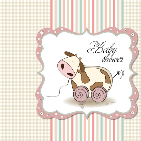sweet baby girl: Baby shower card with cute cow toy, vector illustration
