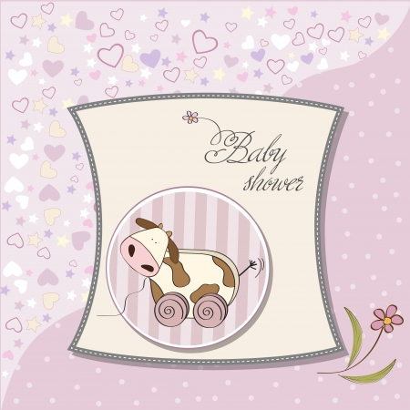 child birth: Baby shower card with cute cow toy, vector illustration