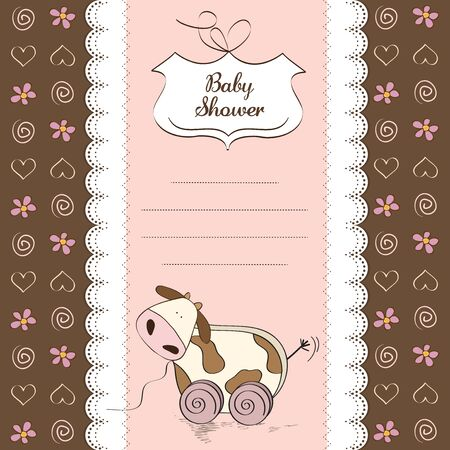Baby shower card with cute cow toy, vector illustration Stock Vector - 17922155