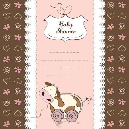 pull toy: Bebé ducha tarjeta con la vaca lindo juguete, ilustración vectorial
