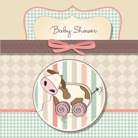 Baby shower card with cute cow toy, vector illustration Stock Vector - 17922157