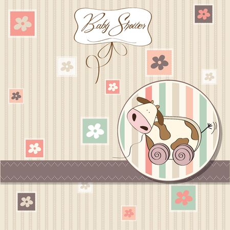 Baby shower card with cute cow toy, vector illustration Stock Vector - 17922153