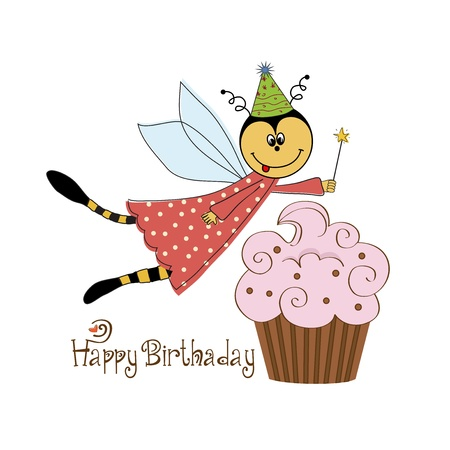 Childish birthday card with funny dressed bee, vector illustration Vector