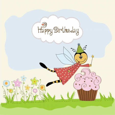bee birthday party: Childish birthday card with funny dressed bee, vector illustration Illustration