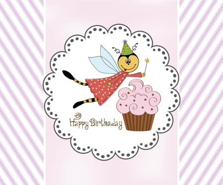 Childish birthday card with funny dressed bee, vector illustration Stock Vector - 17922216
