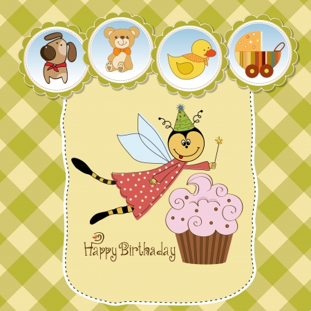 Childish birthday card with funny dressed bee, vector illustration Stock Vector - 17922210
