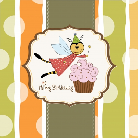 Childish birthday card with funny dressed bee, vector illustration Stock Vector - 17922163