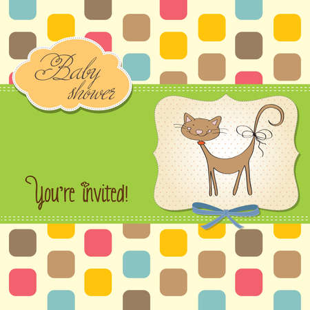 new baby shower card with cat, vector illustration Stock Vector - 17922196