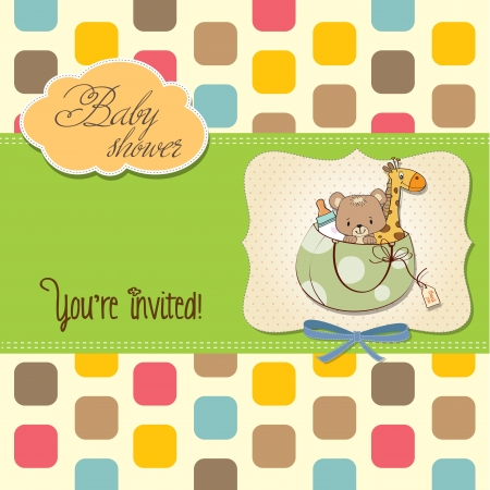 baby announcement card: new baby announcement card with bag and same toys