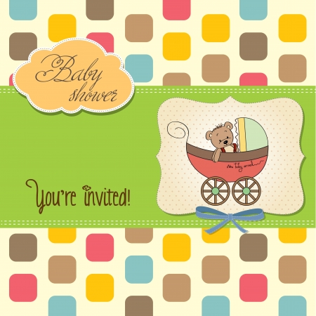 funny teddy bear in stroller, baby announcement card Vector