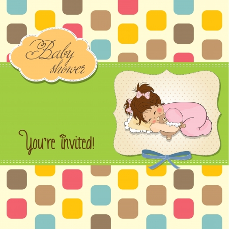 little baby girl play with her teddy bear toy. new baby announcement card Stock Vector - 17922202