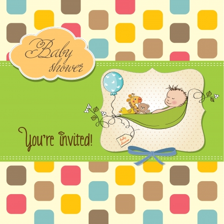 little boy sleeping in a pea been, baby shower card Vector